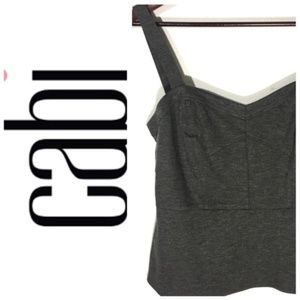 CAbi Gray Structured Peplum Tank Top I Size 6